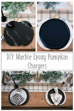 DIY Marble Epoxy Pumpkin Chargers - These beautiful pumpkins that look as though they have been cut from marble are an inexpensive craft that will immediately upgrade your dinner table any day of the week! All fall gatherings or fall dinners with family or friends, even Thanksgiving are perfect occasions to use your DIY Marble Epoxy Pumpkin Chargers! Make any shape you can cut and turn it into fake marble! Dress up your table setting with inexpensive fake marble epoxy! Free pumpkin pattern!