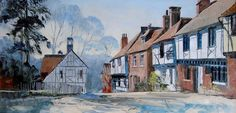 Harley Crossley 20th Century British oil street scene Chilham Kent signed