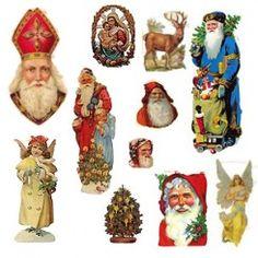 Santa, Angel and Christmas Scraps