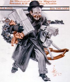 Father Rushing Home with Gifts by J. C. Leyendecker, December 4, 1909  Saturday Evening Post