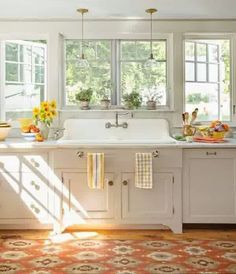 20 Vintage Farmhouse Kitchen Ideas | Home Design And Interior LOVE this sink, windows, and the towel bars!