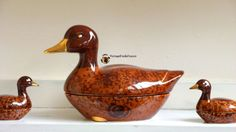 Large French Duck Terrine Majolica faience by VintageFindsFrance
