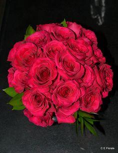 Hot pink rose wedding bouquet