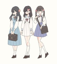 Character Outfits, Character Art, Character Design, Anime Friendship, Anime Best Friends, Cute Art Styles, Anime Dress, Chica Anime Manga, Drawing Clothes