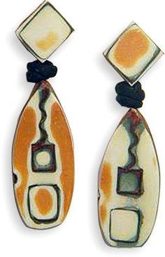 Liz Stefano's mokume gane earrings for a 2017 challenge. On PolymerClayDaily.com