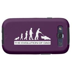 The Evolution of Dad Samsung Galaxy S3 Phone Case. The Evolution of Dad shows the journey taken as a baby grows into a man and becomes a father. A parody of the famous Progress of Man showing dad mowing the lawn - one of the key chores for any family man. Charles Darwin would be proud! #samsung #dad #FathersDay