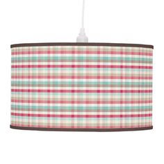 Retro Pink and Blue Plaid Lamp