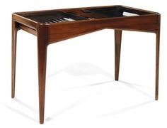 Gio PONTI A small rosewood coffee table, rectangular table top, an openwork tablette, upper table top finished off with two sheets of glass Gio Ponti, Piero Fornasetti, Auction, Coffee, Glass, Table, Top, Furniture, Home Decor