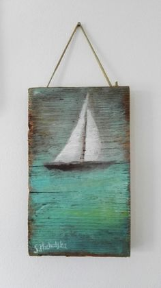 New painting ideas rustic pallet art 64 ideas Boat Painting, Pallet Painting, Painting On Wood, Summer Painting, Nautical Painting, Image Painting, Nautical Art, Arte Pallet, Pallet Art