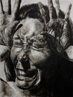 "Clara Lieu, Self-Portrait No. 16, etching ink and lithographic crayon on Dura-Lar, 48"" x 36"", x 2011. This drawing is from ""Falling"", a project that is a visualization of my personal experience with depression. The condition brought on frequent episodes where I felt emotionally and physically out of control. After an extended, untreated struggle, a diagnosis brought relief, and the process of unearthing myself from the disease began."