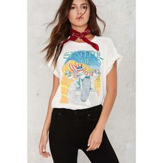 Vintage Grateful Dead Northwest '88 Tour Tee (1,070 ILS) ❤ liked on Polyvore featuring tops, t-shirts, white, white cotton t shirts, skeleton t shirt, cotton t shirts, vintage tees and white graphic tees