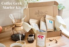 Prize: Coffee Geek Starter Kit with four coffees, AeroPress and Hario grinder. Coffee Subscription, Subscription Boxes, Free Sweepstakes, Coffee Pack, Coffee Gifts, Great Coffee, Coffee Roasting, Starter Kit, Brewing