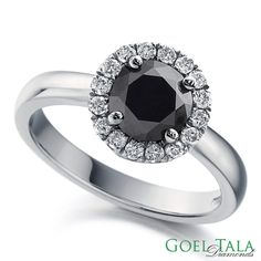 Diamond Engagement Ring with 1.50 carat total weight Black Round Cut Diamond in 14k White Gold.