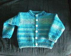 DK weight yarn, G hook Ravelry: Child's crochet cardigan pattern by Helen White Crochet Baby Cardigan Free Pattern, Crochet Baby Jacket, Crochet Baby Sweaters, Crochet Baby Clothes, Baby Knitting, Crochet Toddler, Crochet Bebe, Crochet For Boys, Easy Crochet