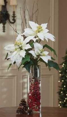 Wintery White. White Tall Poinsettia, Birch & Berries