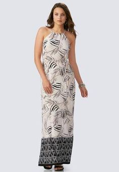 Cato Fashions Bordered Palm Frond Maxi Dress #CatoFashions