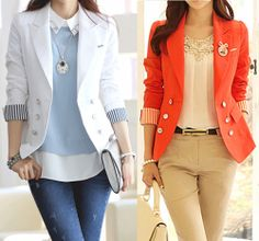 Alluring Style Lapel Neck Color Block Button Decorated Long Sleeve Blazer For Women's
