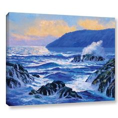 """Three Posts Pacific Sunset Painting Print on Wrapped Canvas Size: 14"""" H x 18"""" W x 2"""" D"""