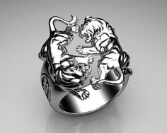 Unique Mens Ring Lion Ring Sterling Silver with White Diam…   Flickr