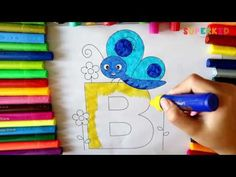 Letter B and Blue Butterfly coloring page - The Alphabet Coloring Pages for Kids - YouTube