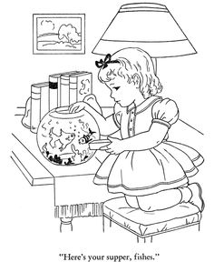 Winter Season Coloring page | Feeding the fish