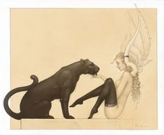Black Panther White Wings by Michael Parkes