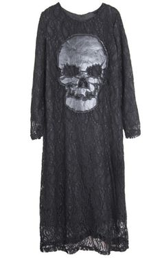 Black Round Neck Long Sleeve Skull Print Lace Dress