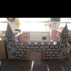 Cardboard castle for dramatic play