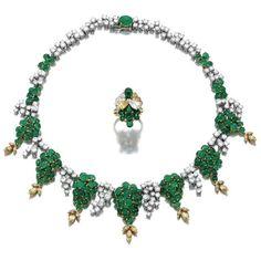 emerald and diamond demi parure cartier 1970s