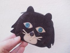 Black cat Suede wallet, Vintage Key Case, Dark Brown Coin purse, Unisex adults, Child Purse coin, Suede Leather Wallet, For children