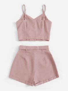 Solid Button Front Cami Top With Belted Shorts Women Summer Boho Two Piece Set Ladies Cute Comfy Outfits, Cute Girl Outfits, Cute Summer Outfits, Stylish Outfits, Girls Fashion Clothes, Summer Fashion Outfits, Cute Fashion, Girl Fashion, Crop Top Outfits
