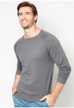 da3bedc39a9fb Php 850.00 Gunmetal Grey Long Raglan Sleeve Sweater from H.E. by Mango  features triangle-shaped