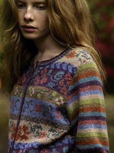 Love the fair isle in the body and the stripes on the sleeves Maple by Marie Wallin. Rowan 50.