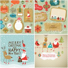 Funny Christmas and New Year design elements vector