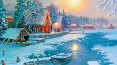 Winter: Winter Night Lakes Nature Boats Moons Four Lake Cottages Year Lovely Holidays Snow Trees Xmas Christmas New Love Beautiful Seasons White Wallpaper Windows 7 for HD High Definition Wide Widescreen WUXGA WXGA WGA Standa Dream Pictures, Winter Pictures, Christmas Pictures, Pretty Pictures, Winter Scene Paintings, Christmas Paintings, Thomas Kinkade, Christmas Scenes, Christmas Art