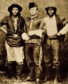John Clum, in buckskin garb given to him by one of his Apache policemen, poses with Diablo (at left) and Eskiminzin (at right) at San Carlos in 1875. The summer before, when he had first arrived at the agency to permanently replace Agent Charles Larrabee, Clum was greeted by severed heads on the parade ground.  – Courtesy Cowan's Auctions, December 10, 2010 –