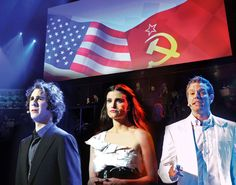 Josh Groban as Anatoly; Idina Menzel as Florence; and Adam Pascal as Freddie in Chess in Concert at The Royal Albert Hall.