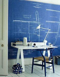 lovely work space with blueprint wallpaper. Jo Henderson (photo), Emma Thomas (stylist).  improvised life via desire to inspire