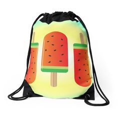 """""""Watermelon Ice Lollies"""" Drawstring Bags by QueenieLamb 