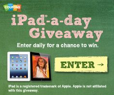 FREE iPad Giveaway!  Enter EVERYDAY To Win An iPad!  They are giving one away each day!