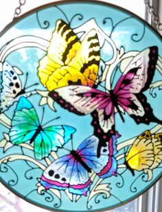 """Butterfly Suncatcher Hand Painted 6 1/2"""" Blue Purple Yellow Green #Unbranded"""