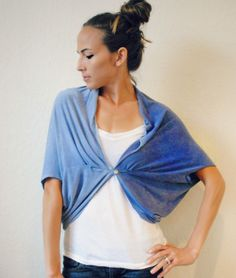 DIY Tee Shawl-Shrug (can be worn in different ways & takes a few minutes to make)