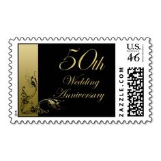 50th Wedding Postage Black and Gold Effect Swirls