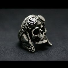 925 Sterling Silver Aviator Skull by 925SilverPetrichor on Etsy