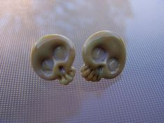 Unique lampwork glass post earrings Day of the Dead by RicoDelux