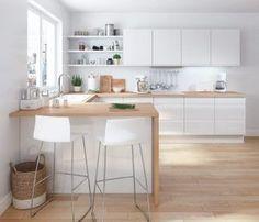 Open Kitchen And Living Room, New Kitchen, Kitchen Decor, Kitchen Ideas, Kitchen Wood, L Shape Kitchen, Kitchen Island, Kitchen Centerpiece, Loft Kitchen