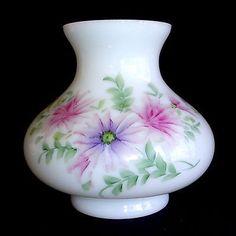 Vtg Hand painted Small GWTW Hurricane Parlor Milk Glass Lamp Shade Globe Flowers