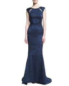 Zac Posen: I love the leopard print detail on this cap sleeve gown! I like the cutout details on the sleeves.