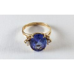Tanzanite Ring, Diamonds, 14K Gold, Engagement, Wedding, 1940s Art... ($4,619) ❤ liked on Polyvore featuring jewelry and rings