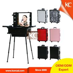 Nice Trolley Stand Mobile Professional Aluminum LED Makeup Case With Lights, Portable  Makeup Station Makeup Studio